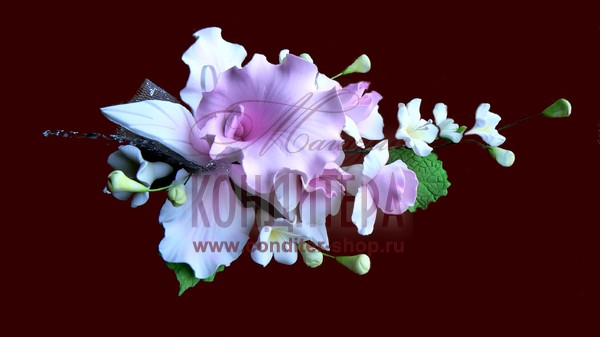 Прекрасные букеты из съедобных орхидей созданых из мастики.